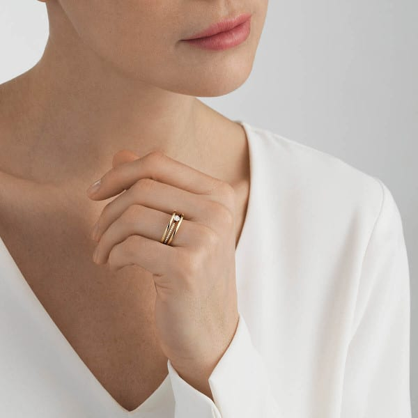 GEORG JENSEN RING HALO GULL MED DIAMANTER