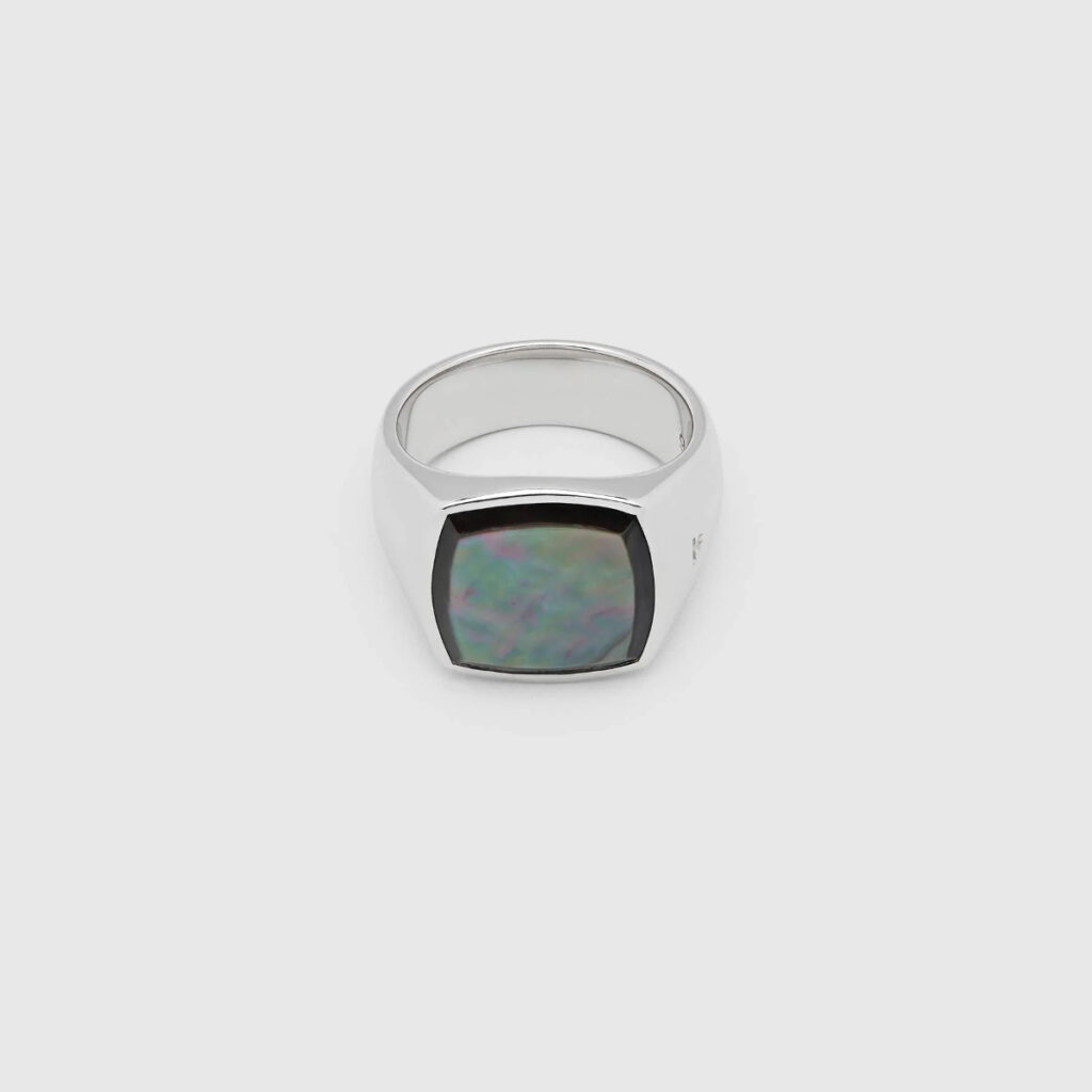 TOM WOOD RING CUSHION BLACK MOTHER OF PEARL