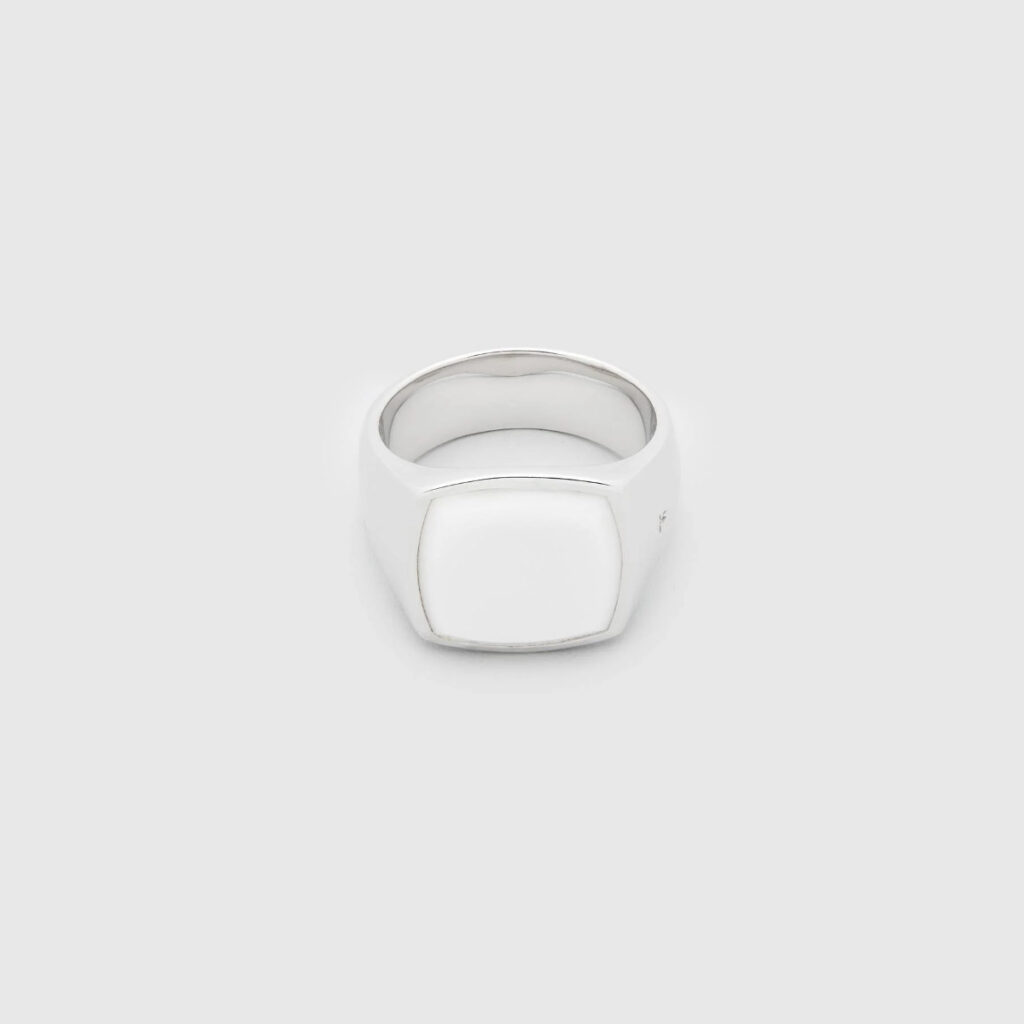 TOM WOOD RING CUSHION WHITE AGATE